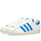 E81u3366 - Adidas Superstar 80s White, Dark Royal & Chalk - Men - Shoes