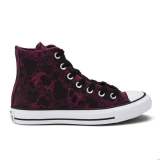 V34p7839 - Converse Women's Chuck Taylor All Star Animal Material Hi-Top Trainers Deep Bordeaux/Black/White - Women - Shoes
