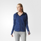 Z31o2515 - Adidas Premium Hoodie Blue - Women - Clothing