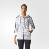N45k3607 - Adidas Essentials 3Stripes PaperPrint Hoodie White - Women - Clothing