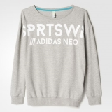 I89l3334 - Adidas Boyfriend Sweatshirt Grey - Women - Clothing